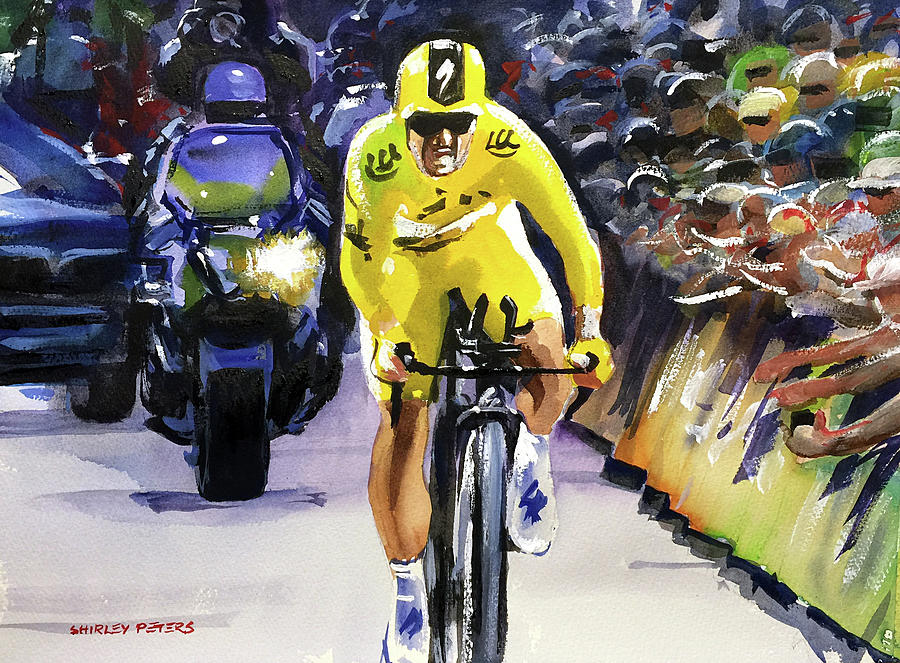 Tour De France Painting - Stage 13 Julian Alaphilippe Keeps Yellow by Shirley Peters