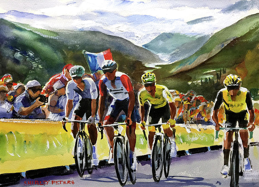 Tour De France Painting - Stage 14 Thibaut Pinot On The Tourmalet by Shirley Peters