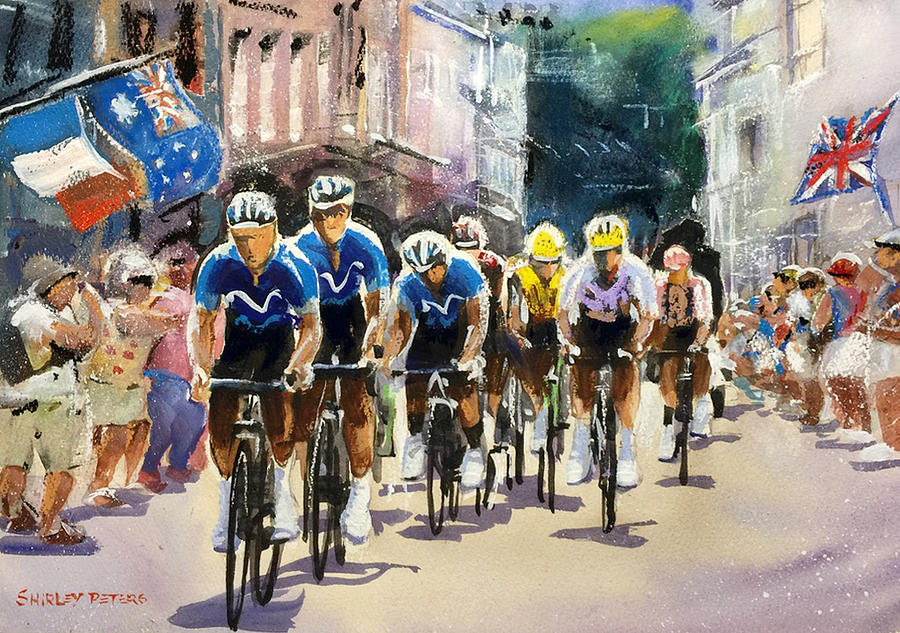Tour De France Painting - Stage 15 Town Welcome For Movistar by Shirley Peters