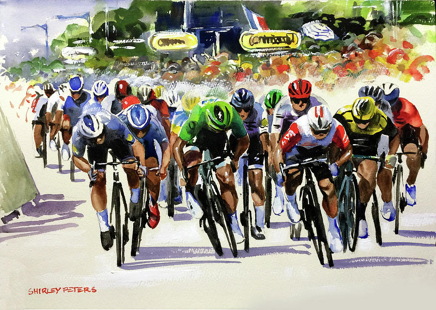 Tour De France Painting - Stage 16 Sprint Power Caleb Ewan Original Painting by Shirley Peters