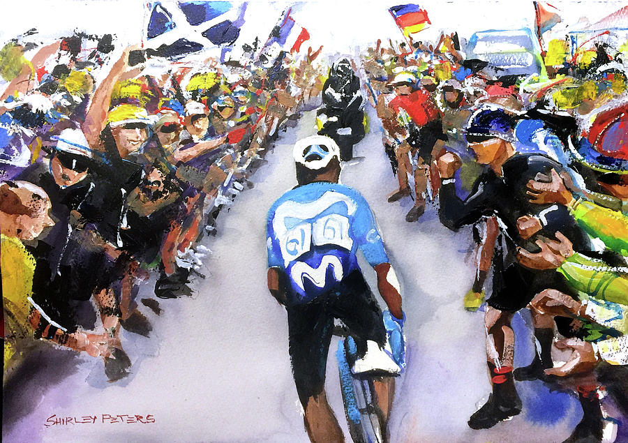Quintana Painting - Stage 18 Quintana Through The Fans by Shirley Peters