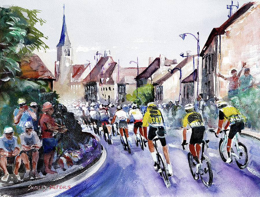 Tour De France Painting - Stage 7 Across Town Cycling by Shirley Peters