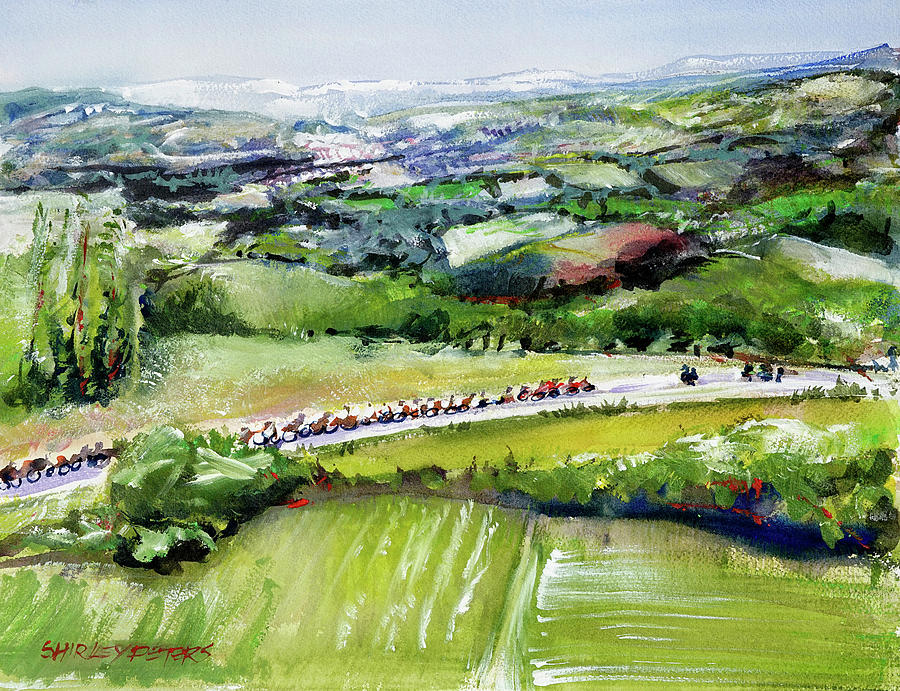Tour De France Painting - Stage 8 Distant Cycle Views by Shirley Peters
