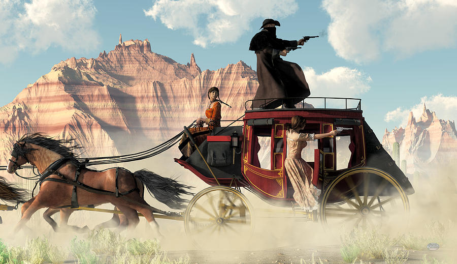 Stagecoach Chase Digital Art