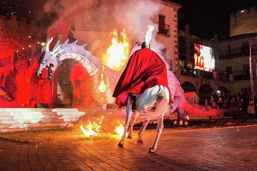 Staging Of The Burning Of The Dragon In The Plaza Mayor On The Occasion Of The Feast Of Saint George Photograph