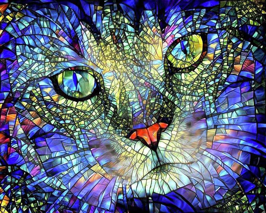 Cat Digital Art - Stained Glass Cat Art by Peggy Collins