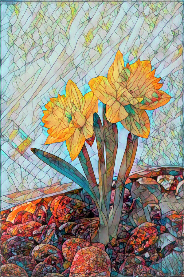 Stained Glass Daffodils in the Rocks by Lowell Monke