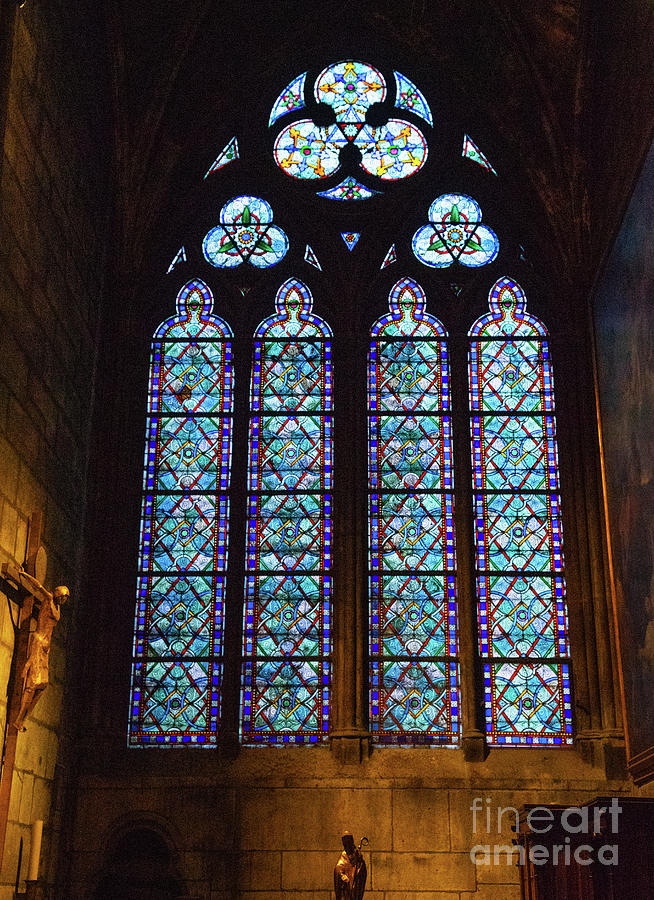 Stained Glass Details Cathedrale Notre Dame De Paris France Before Fire by Wayne Moran