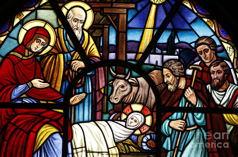 Halo Glass Art - Stained Glass Window Depicting The Nativity by European School