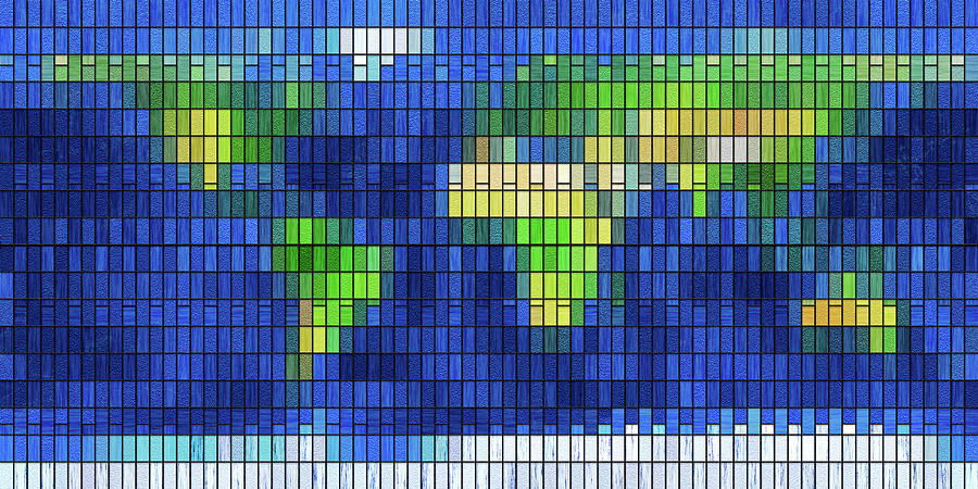 Stained Glass World Map by Frans Blok