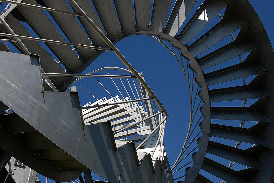 Street Photograph - Stair With Blue Sky by André Pelletier