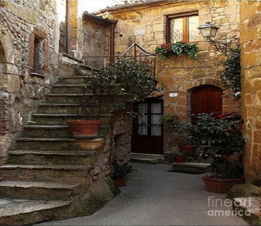 Stairs In Pitigliano Italy  by Rod Jellison