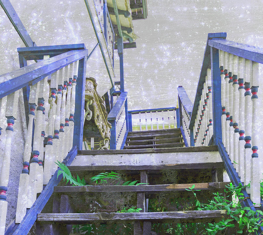 Stairs with Blue Rails by Amy Sorvillo