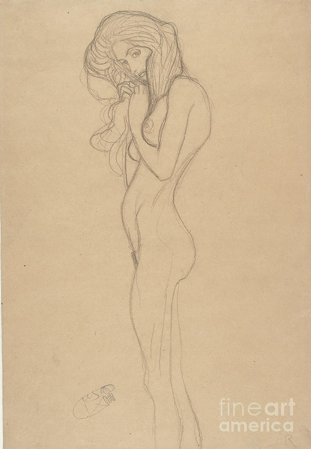 Standing Female Nude Study Drawing by Heritage Images