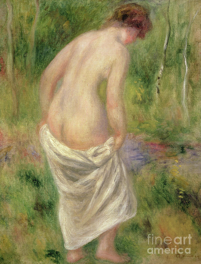Female Painting - Standing Nude In A Landscape, 1914 by Pierre Auguste Renoir