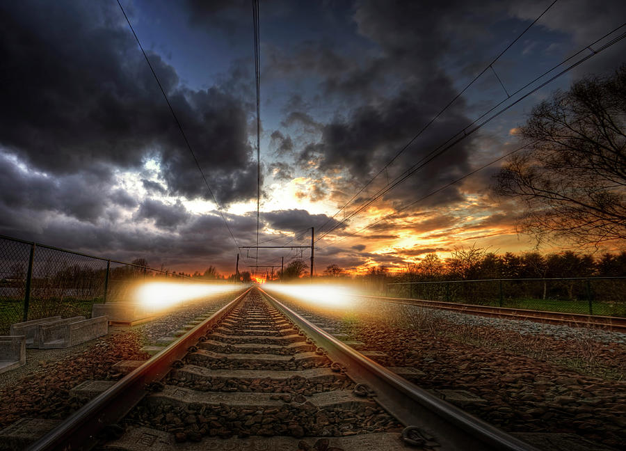 Standing On The Train Tracks Photograph by Erlend Robaye - Erroba