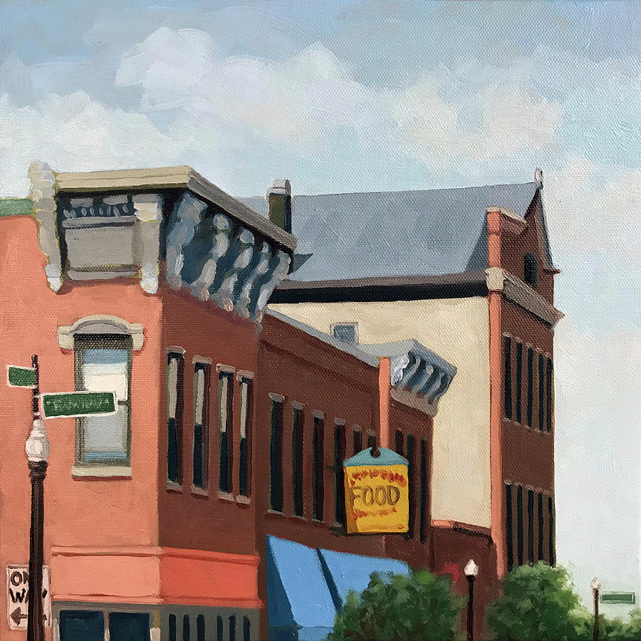 Architecture Painting - Standing Tall -local City Buildings by Linda Apple