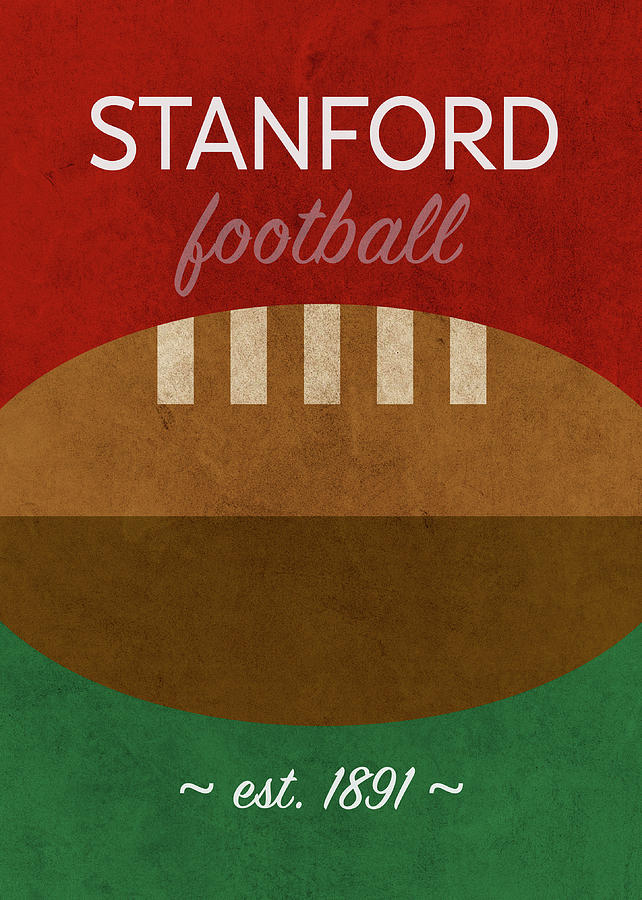 Stanford Mixed Media - Stanford Football Minimalist Retro Sports Poster Series 016 by Design Turnpike