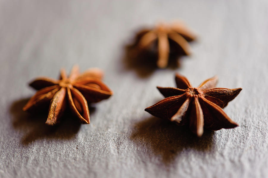 Star Anise On Slate Tray Photograph by Alexandre Fp
