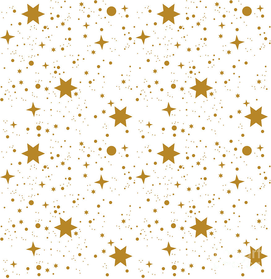 Gift Digital Art - Star, Pattern, White, Background, Gold by Ann.and.pen