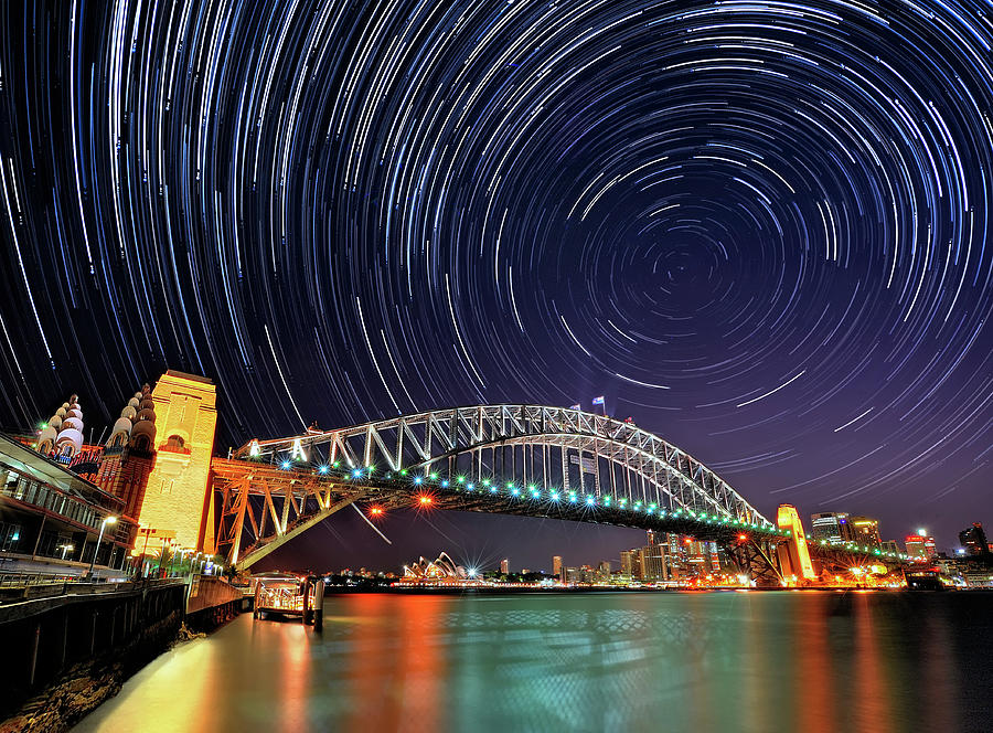 Star-trail Over Sydney Photograph by Atomiczen