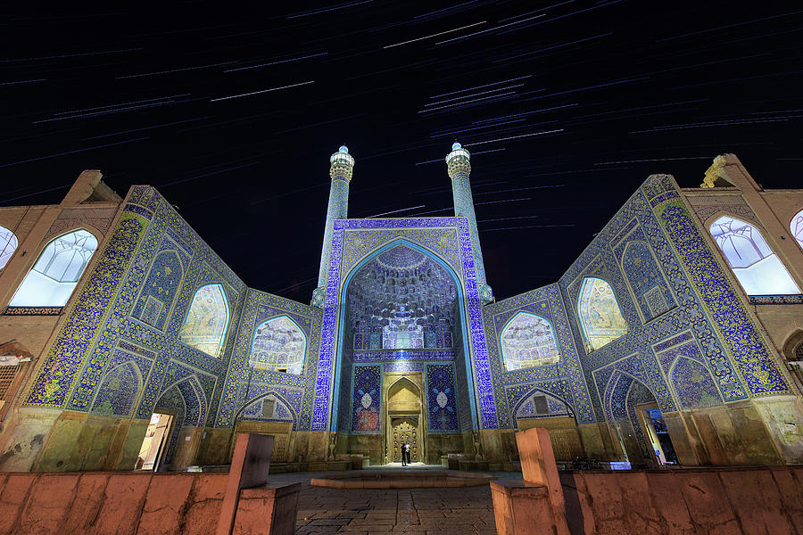 Star Trails Above The Shah Mosque by Jeff Dai
