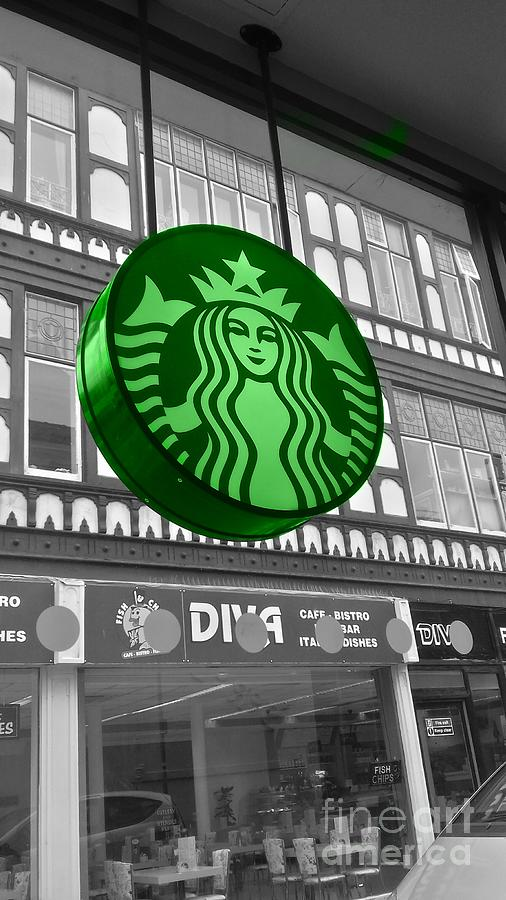 Starbucks Green Sign by Joan-Violet Stretch
