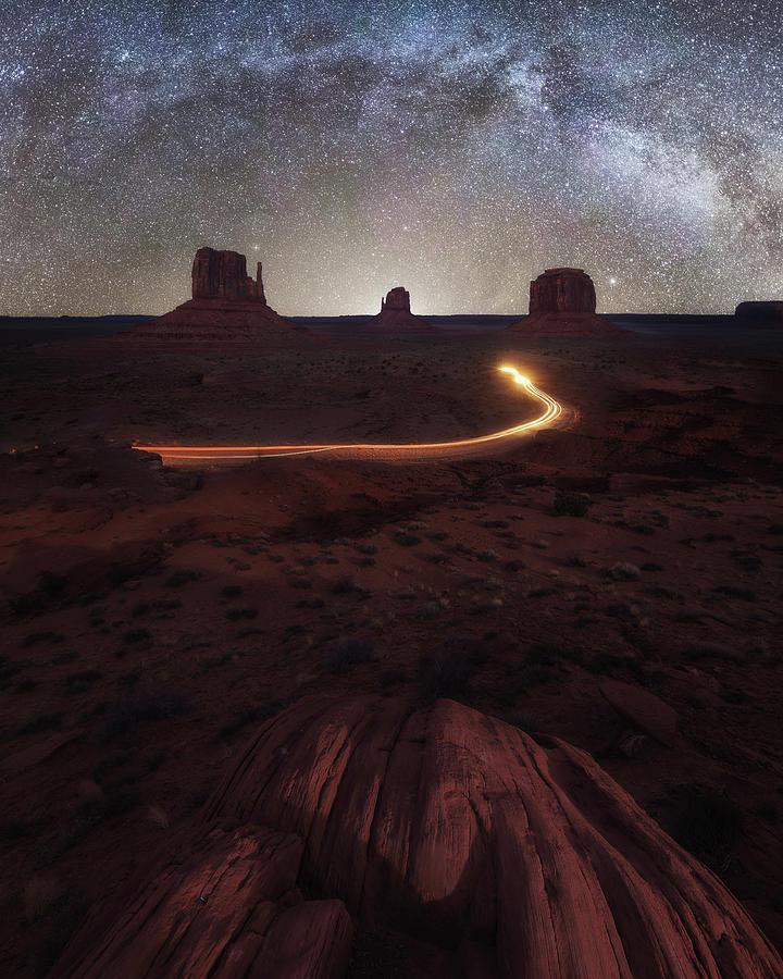 Stargazing, Monument Valley, Usa Photograph