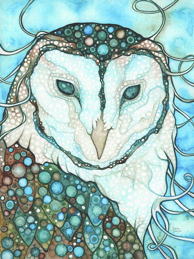 Barn Owl Painting - Starlit Owl by Tamara Phillips