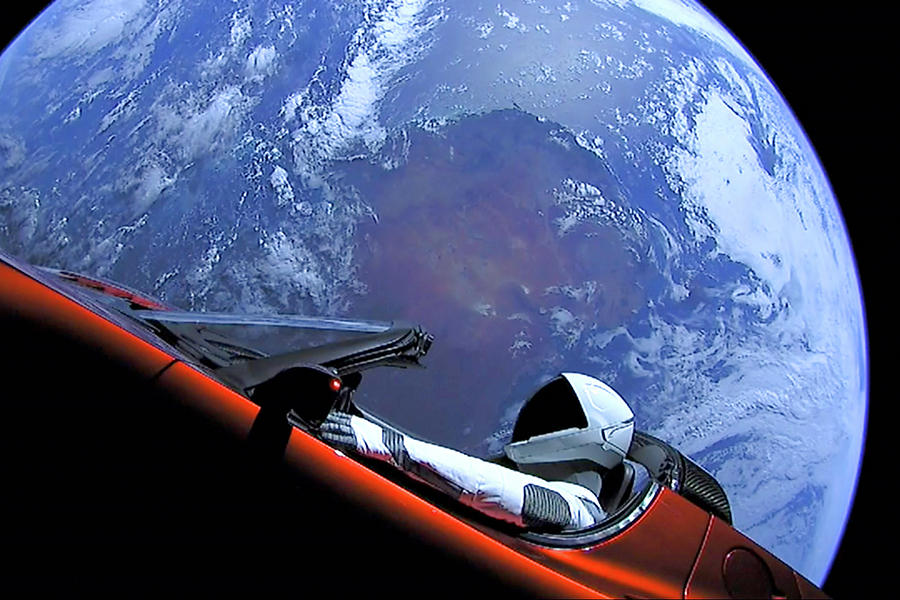 Starman, Tesla and Earth Outer Space Image by Bill Swartwout Fine Art Photography