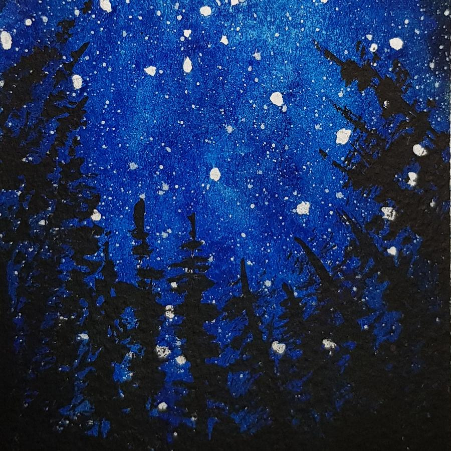 Acrylics Painting - Starry Blue Sky by Paola Baroni