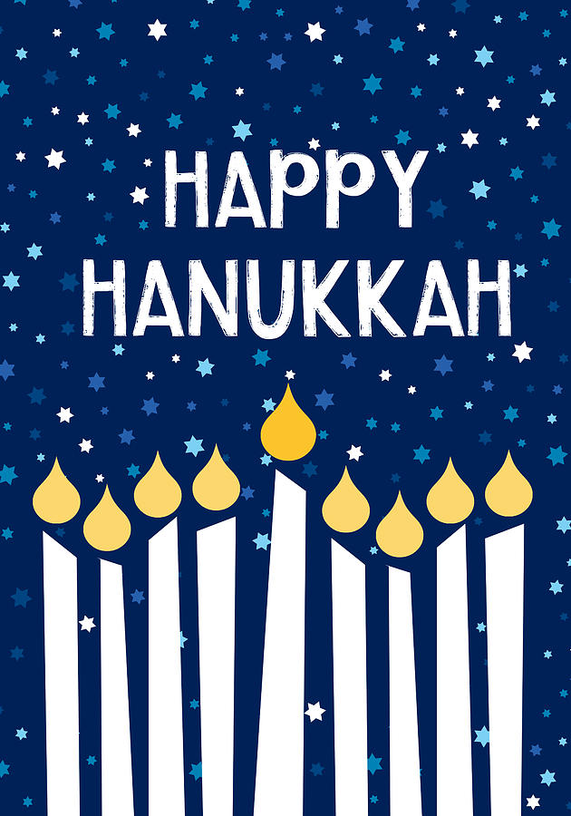 Hanukkah Mixed Media - Starry Night Hanukkah Menorah- Art By Linda Woods by Linda Woods