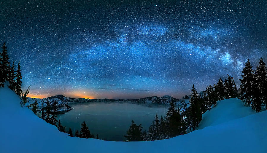 Starry Photograph - Starry Night Over The Crater Lake by Hua Zhu