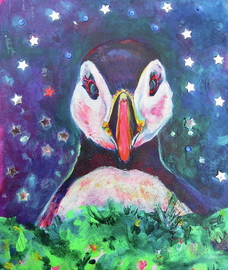 Starry Night Puffin by Karin McCombe Jones