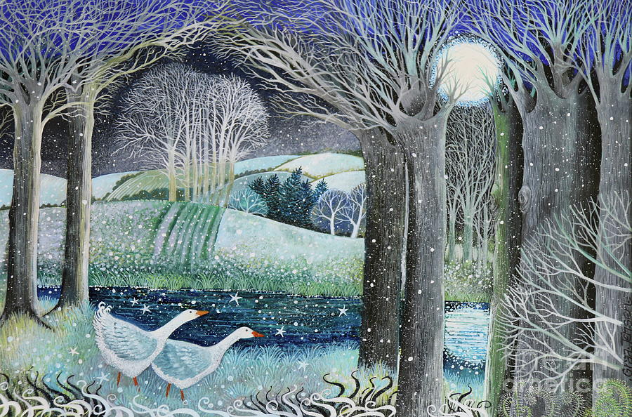 Landscapes Painting - Starry River by Lisa Graa Jensen