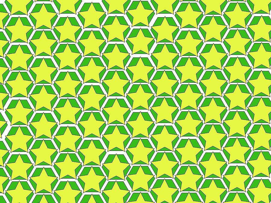 stars and hexagons green by Andrew Williams