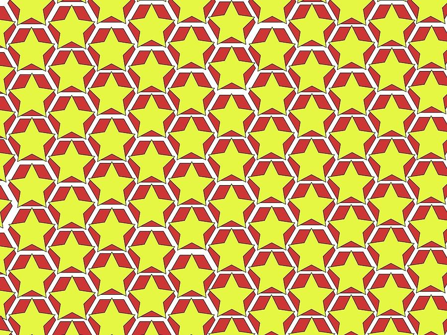 Stars and hexagons red by Andrew Williams