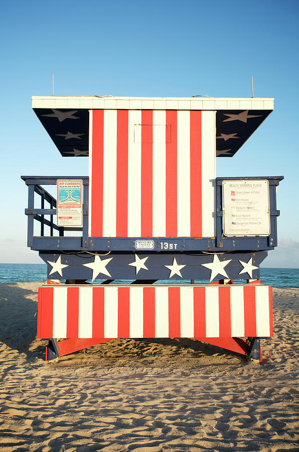 Stars And Stripes Beach Hut In Miami Photograph by Peskymonkey