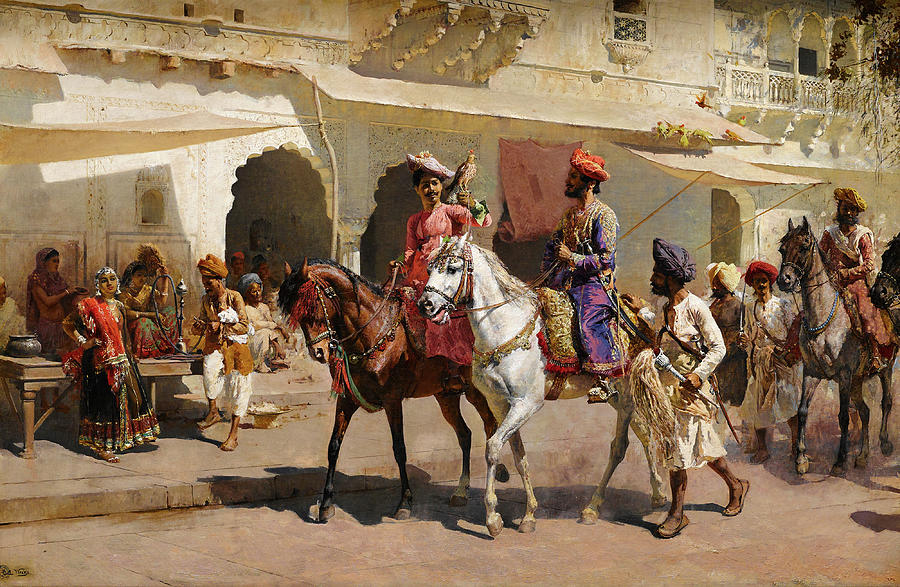 Gwalior Painting - Start For The Hunt At Gwalior by Edwin Lord Weeks