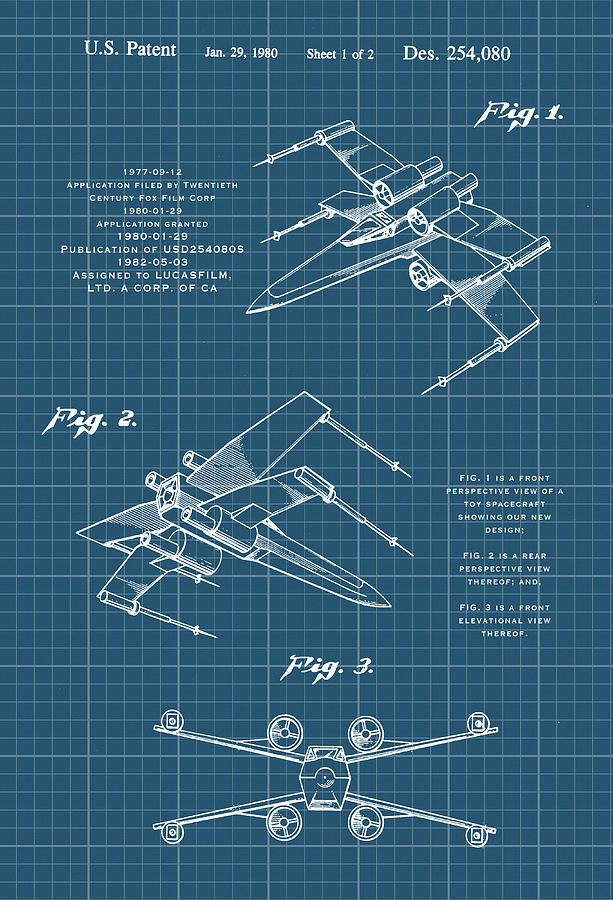 Star Wars Toy X-Wing Fighter Cad Patent Drawing by Carlos Diaz