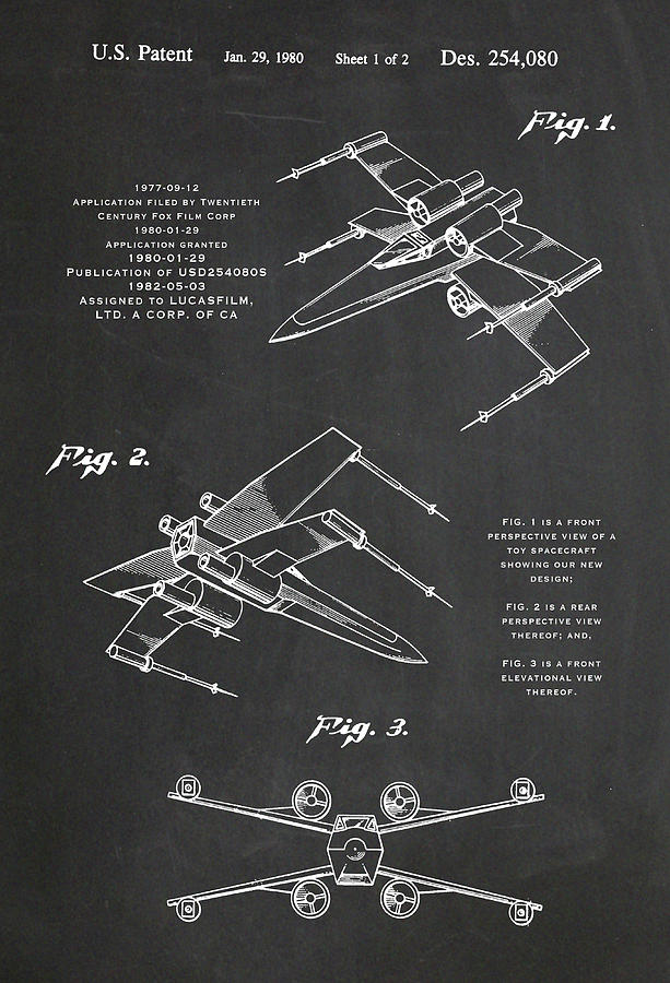 Star Wars X-Wing Fighter Toy Charcoal Patent Drawing by Carlos Diaz