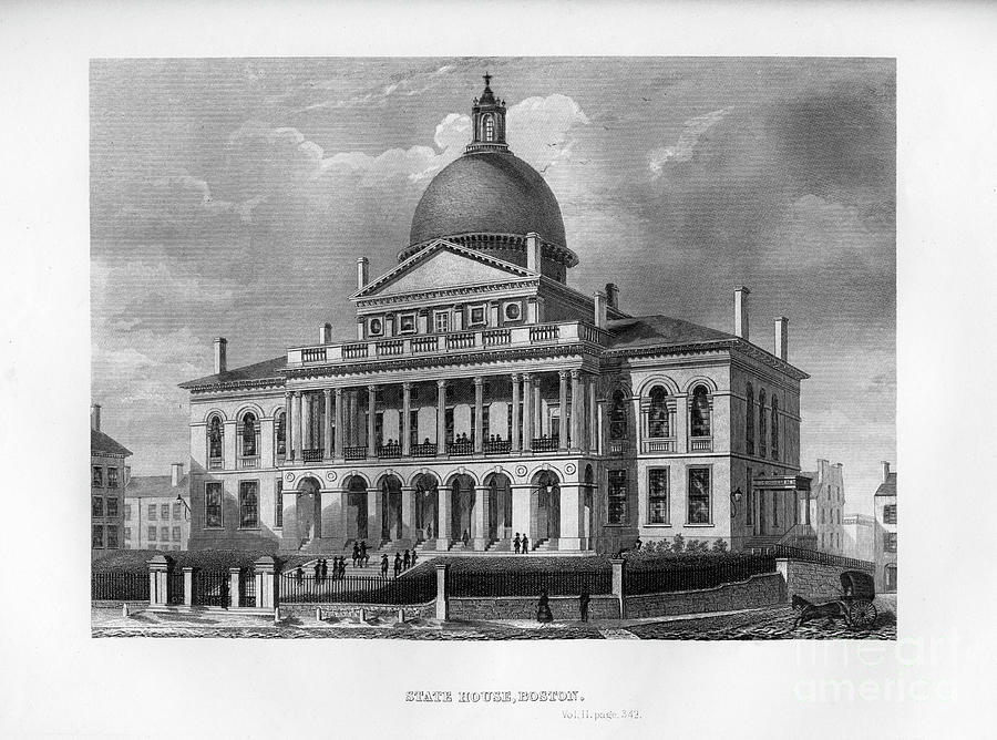 State House, Boston, Massachusetts Drawing by Print Collector