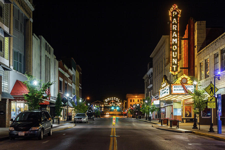 State Street Photograph - State Street with the Newly Lit Bristol Sign by Greg Booher