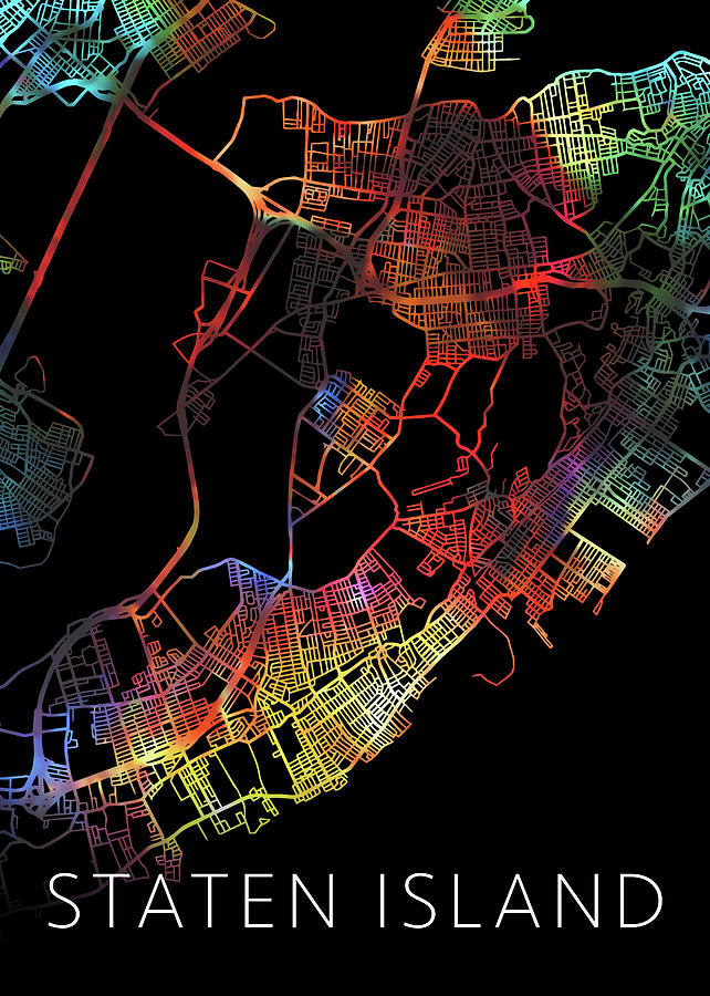 Staten Island Mixed Media - Staten Island New York Watercolor City Street Map Dark Mode by Design Turnpike