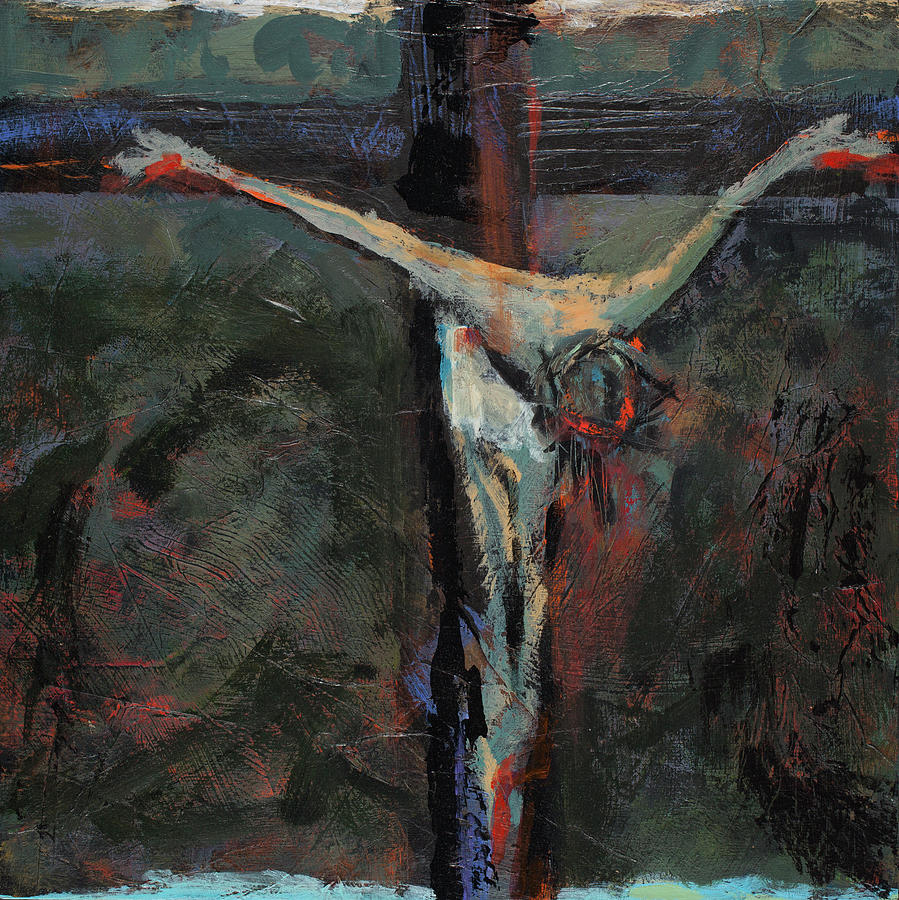 Stations Of The Cross Painting - Station 12 Jesus Dies On The Cross by Jen Norton