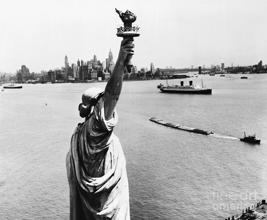 Statue Of Liberty And New York Harbor Photograph by Bettmann