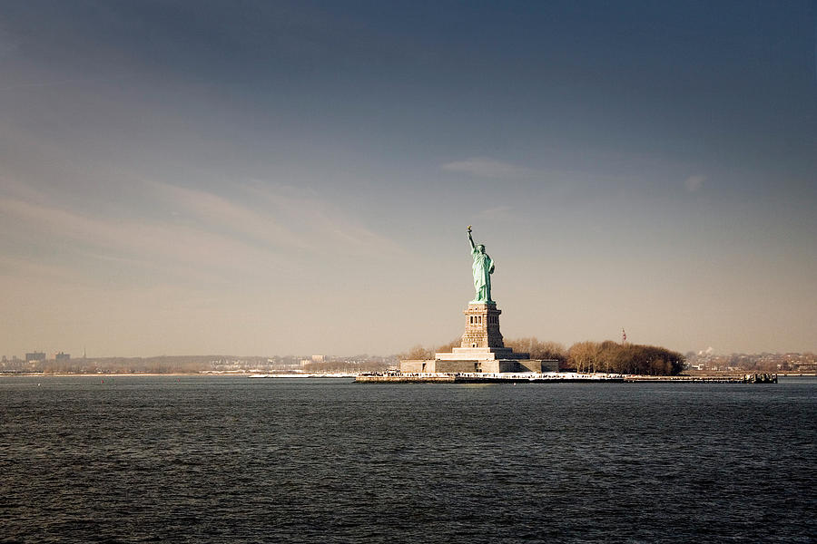 Statue Of Liberty At Sunset, View From Photograph by Stefano Tronci