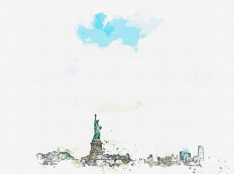 Nature Painting - Statue Of Liberty National Monument, New York, United States Watercolor By Ahmet Asar by Ahmet Asar