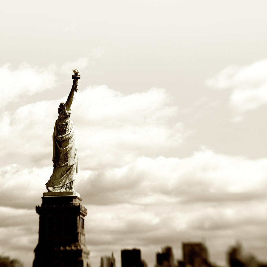 Statue Of Liberty,nyc.sepia Toned Photograph by Lisa-blue