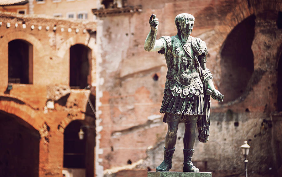 Statue of roman emperor Trajan in Rome, Italy by Eduardo Huelin
